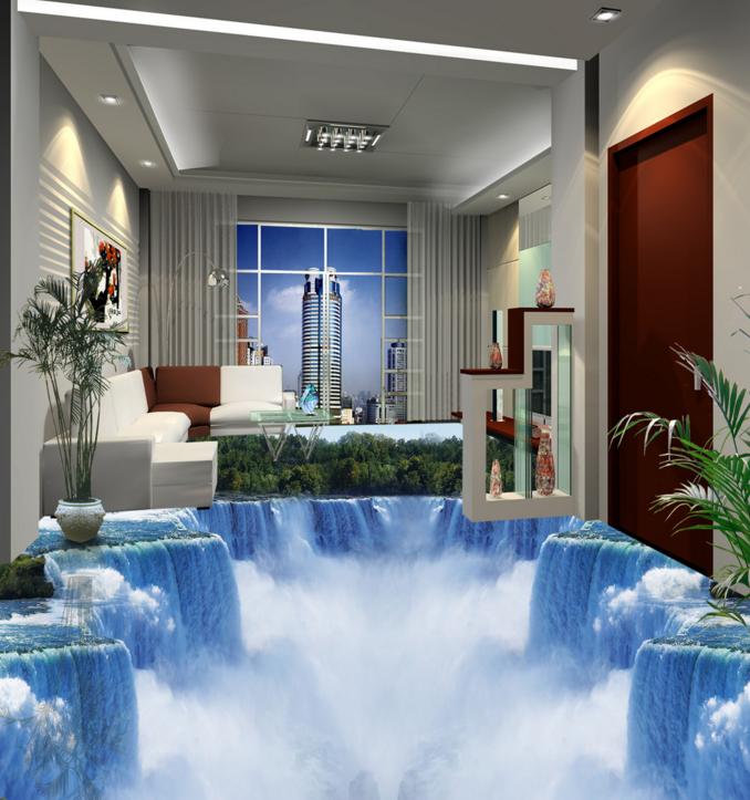 3D Waterfall Forest 703 Floor WallPaper Murals Wall Print Decal AJ WALL CA Carly