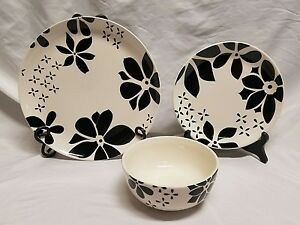3pc TABLETOPS GALLERY ALYSON Black & White DINNER & SALAD PLATES ...