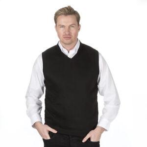 Mens-Sleeveless-Knitted-Tank-Top-Jumper-Slip-Over-Black-New-Smart-Sizes-Poly