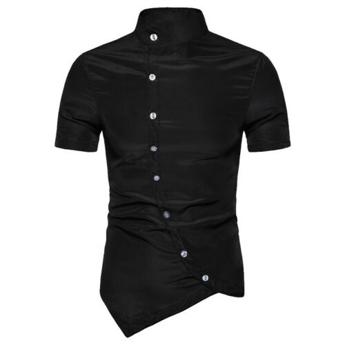 Men/'s Casual Button Down Shirts Irregular Hem Stand Collar Slim Fit Dress Shirt