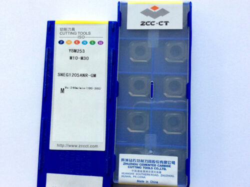 10 x  inserts ZCC-CT SNEG 1205ANR-GM YBM253  steel and stainless-steel NEW!!