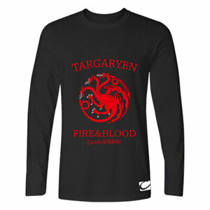 Fire-amp-Blood-Game-of-Thrones-Men-039-s-T-shirt-Long-Sleeve-Tee-Black-Cotton-Tops