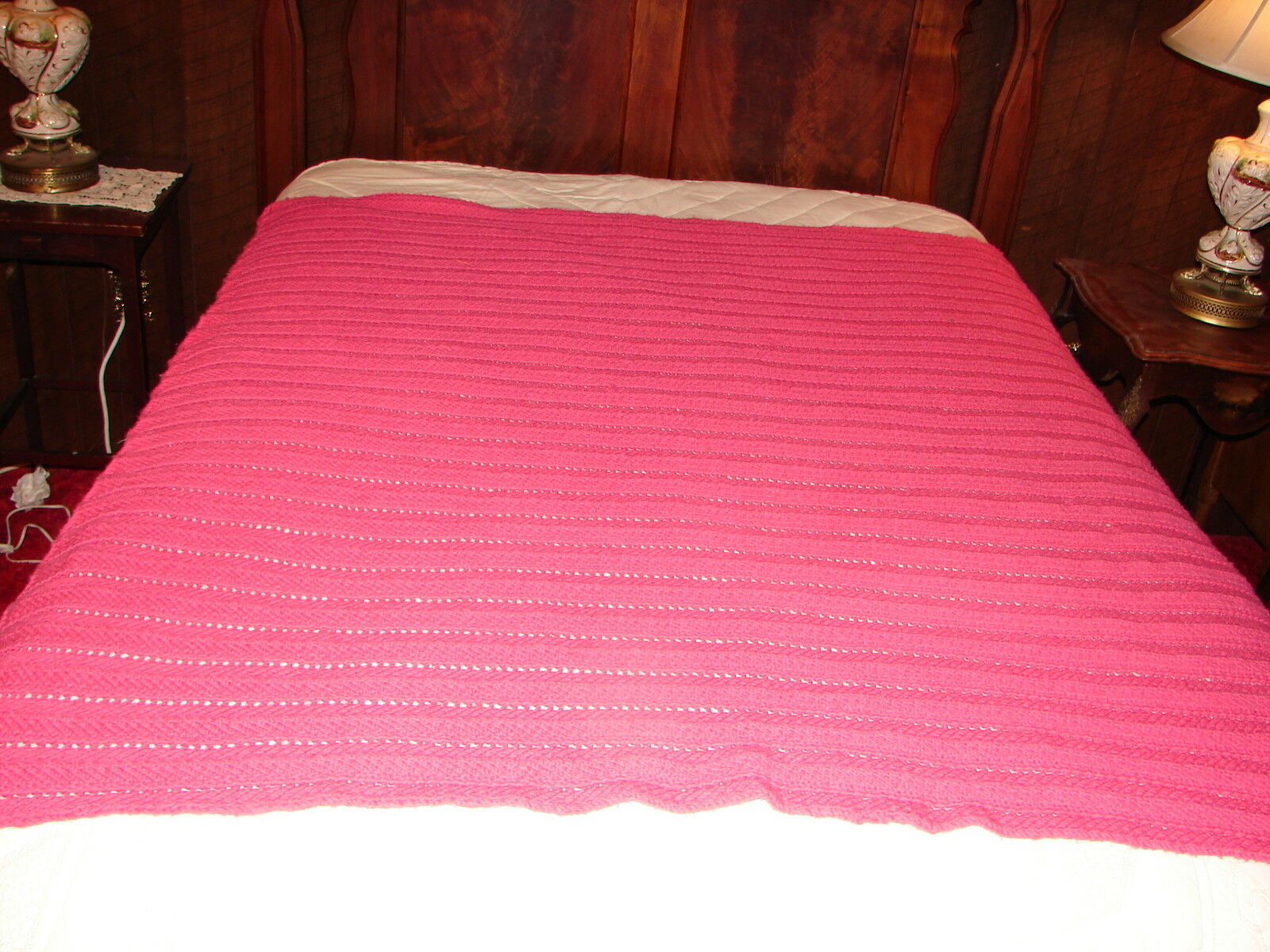 Handmade Handcrafted Crochet Afghan Throw Blanket  Afghan Complex pink color