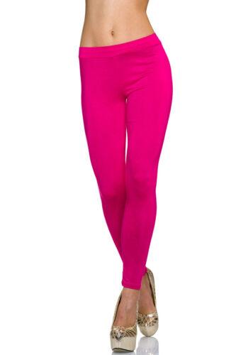 Damen Leggings Leggins lange Hose S M 34 36 Treggings Basic Look Jersey Freizeit
