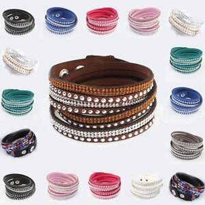 Armband-Wickelarmband-Perlen-Steine-Druckverschluss-Lederoptik-40cm-Charm-neu