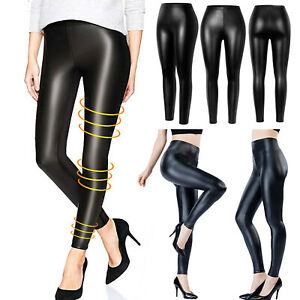 Women-039-s-Faux-Leather-Leggings-Wet-Look-High-Waist-Stretchy-Push-Up-Pencil-Pants