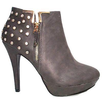 Damas Tacón Alto Botas al Tobillo Zapatos para Mujeres Casual de plataforma size UK FB-8821