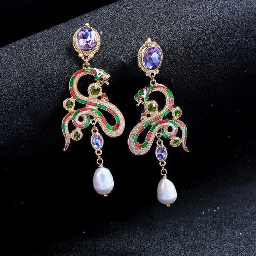 Boucles d/'oreilles Doré Serpent Mauve Email Vert Perle Culture Renaissance XX32