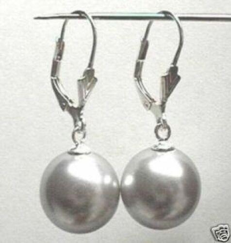 Beau charmant,gris Perles en coquille boucles d/'oreilles