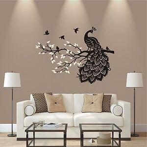Das Bild Wird Geladen WANDTATTOO 2 Farbig Pfau Auf Ast Vogel Wohnzimmer