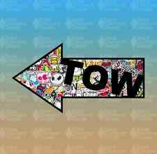 "Tow Here Sticker Bomb Stickerbomb Arrow 6"" Euro Custom Vinyl Decal Sticker JDM"