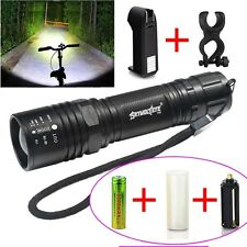 8000LM Zoom XML T6 LED Tactical Flashlight Torch + 18650 Battery + Charger +CLIP