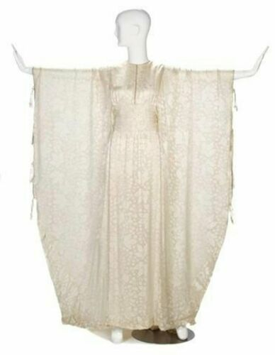THEA PORTER couture 1970s silk embroidered creme c