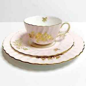 MINTON-Minuet-Cup-and-2-Saucers-3-Piece-Pink-Flat-Demitasse-Bone-China-England