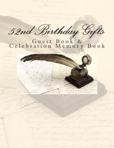 52nd Birthday Gifts Guest Book And Celebration Memory Book By 52nd