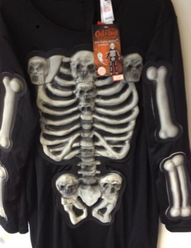 Halloween Boys Glow in Dark Spinetingling Skeleton Mask Skull Bones Black H16