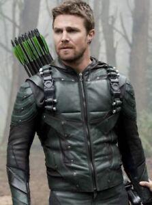 in Giacca 5 Season e pelle cappuccio Arrow annodato cappuccio con Green RIqT11