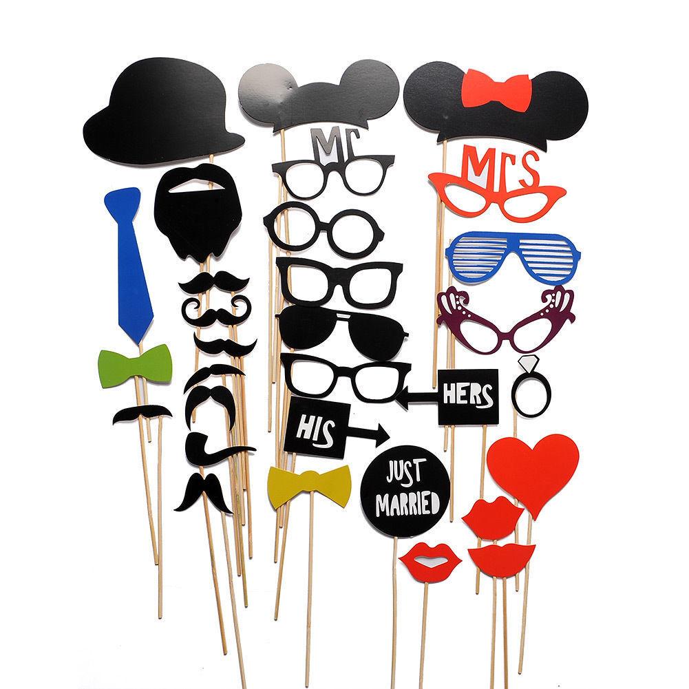 31PCS LOUS DIY Mask Photo Booth Props Mustache On A Stick