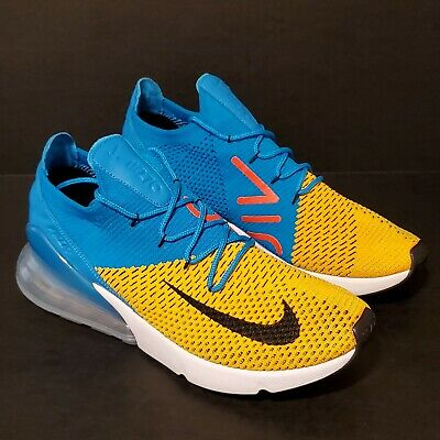 Nike Air Max 270 Flyknit FK Laser Orange Blue Orbit Men Running Shoes AO1023-800