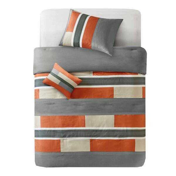 Honing Modern Casual Sporty Orange Taupe Green Khaki Grey Block Stripe Comforter Set Zonden En Botten Versterken