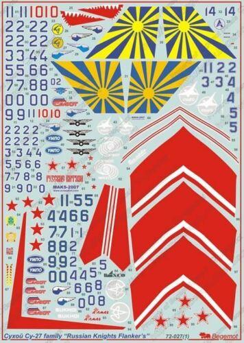 """1//72 BEGEMOT DECALS  SU-27 /""""RUSSIAN KNIGHTS /""""  72-027"""