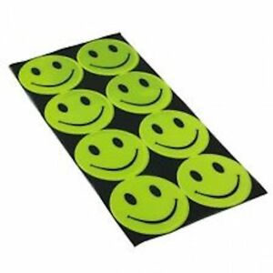 8 X SMILEY FACES Reflective High Visibility Stickers School Bag Bikes Cycle