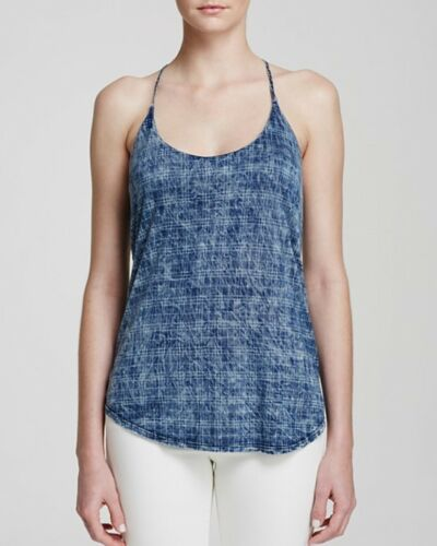 BELLA DAHL Sleeveless Tencel Racerback Strap Tank Top Blue Blouse Plaid M L $135