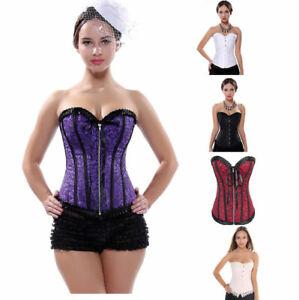 Burlesque-Costume-Corset-Basque-Cincher-Lingerie-Bustier-Shaper-Lace-Trim-6-24