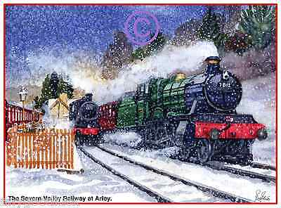 "SVR ARLEY STEAM TRAINS LOCOS SNOW WATERCOLOUR ARTISTS PRINT ART CARD 8/""x 6/"""