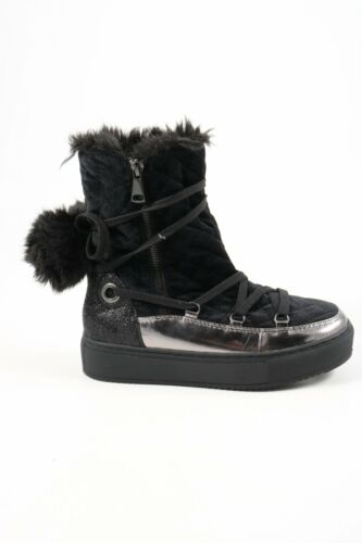 Cafetería Noir botas de invierno negro casual-Look señora talla de 36 bota botas High