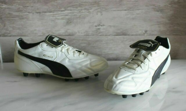 Puma King Top DI FG White/Black Leather Soccer Cleats 44 Football Boots  US-10.5