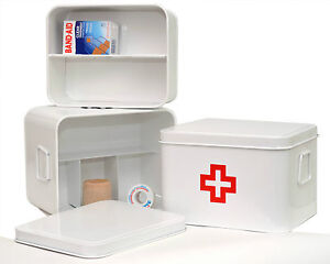 Image Is Loading New Medicine Storage Box White With Red Cross