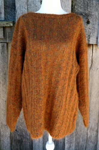 Carducci Rust Orange Ribbed Mohair Knit Pullover S