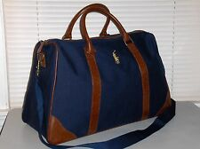 RALPH LAUREN Canvas Duffle Bag, Travel, Gym, Carry On, Polo Pony, NAVY BLUE, New