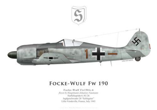JG 26 1943 France by G. Marie Print Focke-Wulf Fw 190A-6 Johannes Naumann