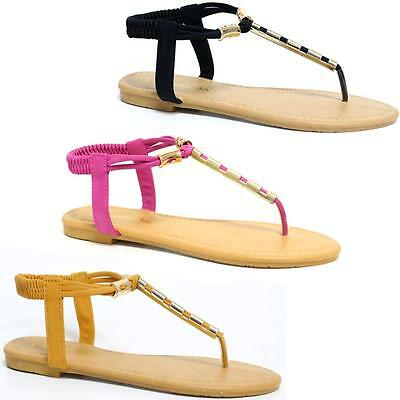 Ladies Faux Leather Sandals Womens Strappy Toe Post Gladiator Summer Beach Shoes
