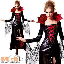 Midnight Vampiress Ladies Fancy Dress Halloween Womens Adults Vampire Costume