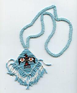 Blue Seed Beaded THUNDERBIRD Necklace with Fringe Southwest Native Style 8415