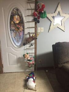 VINTAGE Santa Reindeer Elf Snowman Climbing Ladder Indoor ...