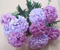 Hydrangea Flowers Bouquet Purple Lavender Artificial Wedding Silk Floral