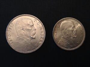 Czechoslovakia 1928 10 Korun & 1937 20 Korun Uncirculated