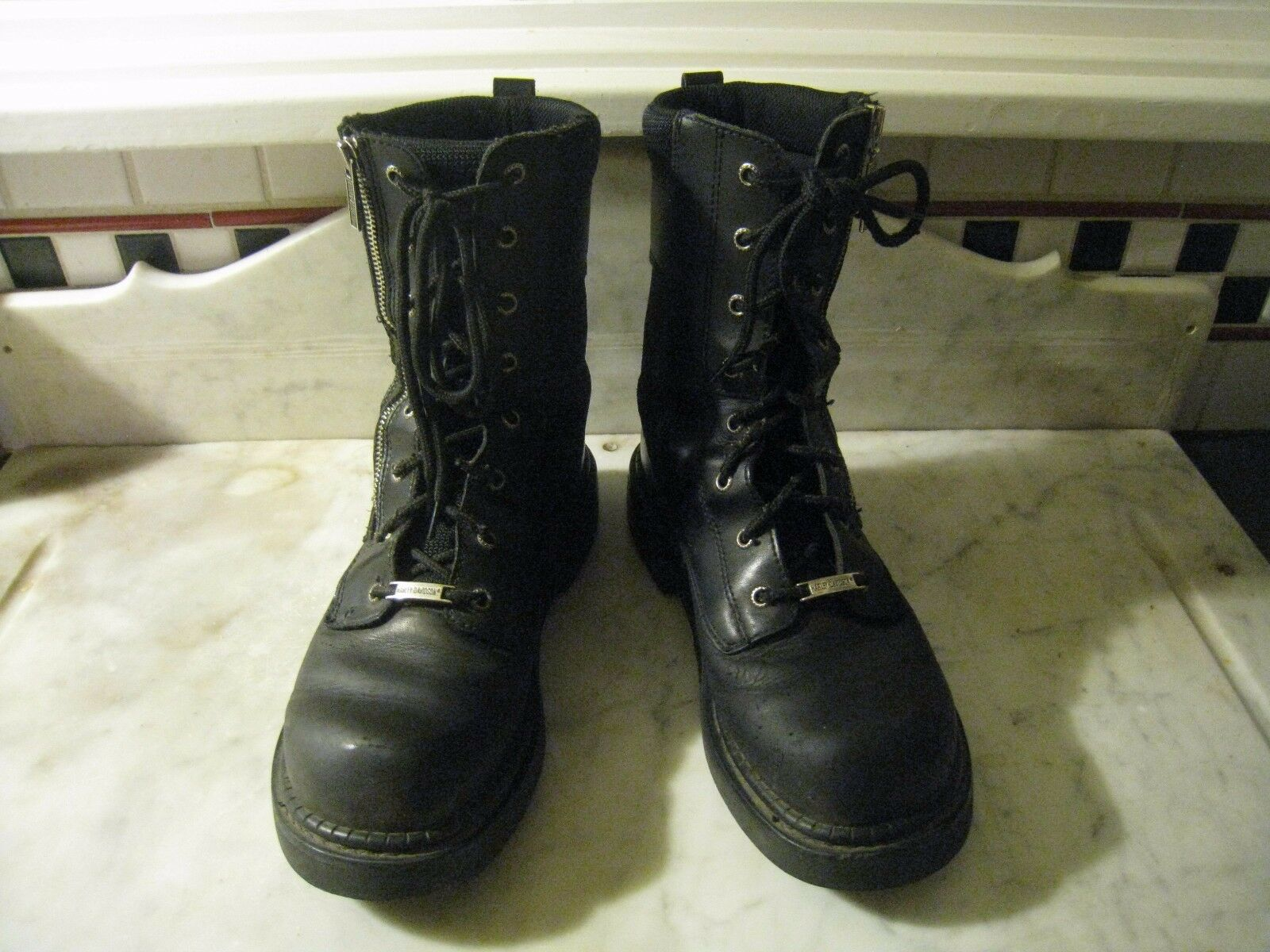 WOMENS HARLEY DAVIDSON BIKER ZIPPER MESH LEATHER BOOTS 9 1 2