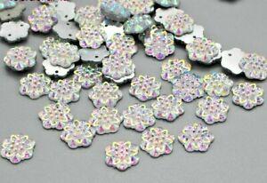 50-x-AB-Color-Flower-12mm-stitch-on-Flatback-Crystal-Sew-On-Rhinestones-42