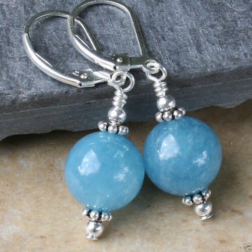 Fashion 12 mm Bleu Aquamarine Perles Rondes Dangle Earrings