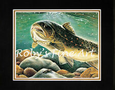 """Matted German Brown Trout Fish Art Print """"Mikes Brown Trout"""" 8x10 Mat Roby Baer"""