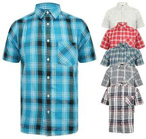 Camisa-Para-Hombres-Manga-Corta-Cuadros-nueva-algodon-mezcla-Ligero-Verano-pendeen-Beach