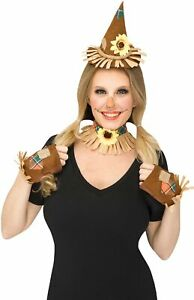 Womens Scarecrow Mini Hat Headband Costume Set Daisy Flower Choker Gloves Kit