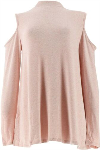 Lisa Rinna Collection Cold Shoulder Knit Top Back Heather RoseTan S NEW A305060