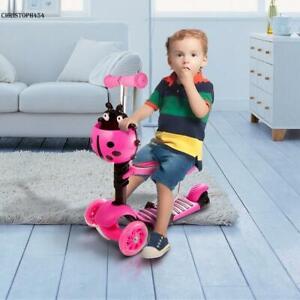 kinderroller dreirad scooter mit sitz laufrad kickroller 3 rad roller led neue ebay. Black Bedroom Furniture Sets. Home Design Ideas