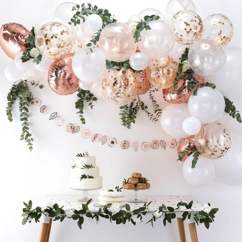 Ballon-Girlande   Luftballon-Bogen XXL in rosé-Gold & weiß   Hochzeits-Deko | Verkaufspreis  | Nutzen Sie Materialien voll aus
